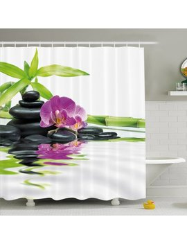 Ambesonne Spa Asian Relaxation With Zen Massage Stones Orchid And Bamboo Shower Curtain Set by Ambesonne