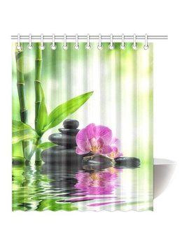 Mypop Magical Purple Flower Japanese Shower Curtain, Orchid And Massage Stones In Zen Garden Sunny Day Meditation Picture Bathroom Shower Curtain Set With Hooks, 60x72 Inches Long by Mypop