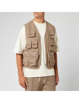 Champion X Clothsurgeon Men's Zip Through Utility Vest   Brown Check by Champion X Clothsurgeon