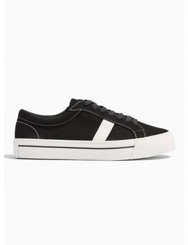 Black Chunky Faux Suede Steep Stripe Trainers by Topman