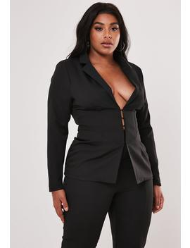 Plus Size Black Co Ord Corset Detail Tailored Blazer by Missguided