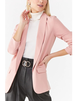 Shawl Collar Open Front Blazer by Forever 21