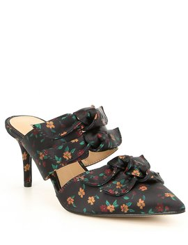 Floral Print Knotted Low Mules by Gianni Bini