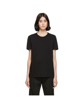 Black Embroidered Logo T Shirt by Mm6 Maison Margiela