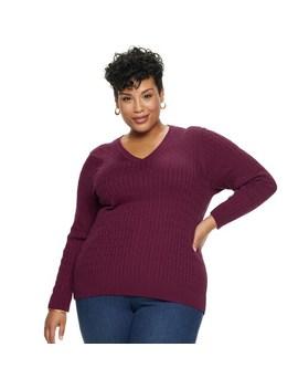 Plus Size Croft & Barrow® V Neck Sweater by Plus Size Croft & Barrow