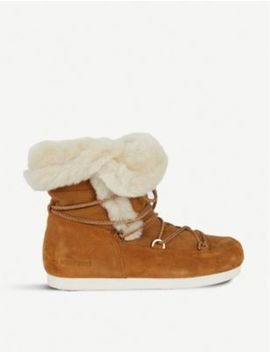 Faux Fur Trimmed Suede Ankle Boots by Moon Boot