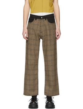 Beige & Brown Highgate Houndstooth Trousers by Our Legacy