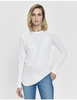 Heritage Scoop Hem Long Sleeve T Shirt In White by Bassike Bassike