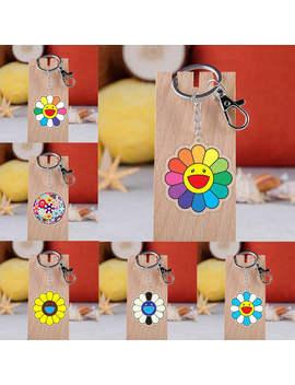 Takashi Murakami Kaikai Kiki Keychain Cartoon Sun Flowers Acrylic Pendent Keyring by Ali Express