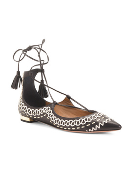 Made In Italy Leather Lace Up Flats by Tj Maxx