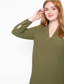 Easy V Neck Top With Button Cuff by Eloquii