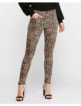 High Waisted Leopard Jean Ankle Leggings by Express