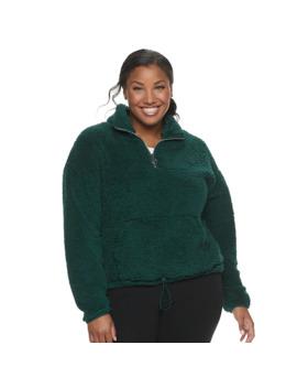 Juniors' Plus Size So® Sherpa 1/4 Zip Jacket by Juniors' Plus Size So