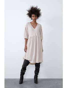 Loose Fitting Textured Dress by Zara