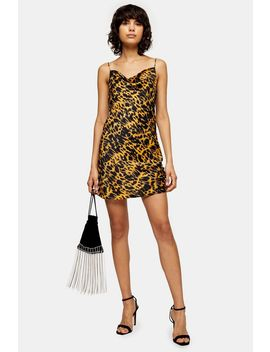 Mustard Animal Ruched Satin Slip Dress by Topshop