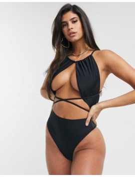 Swim Society St Lucia Cut Out Swimsuit In Black by Swim Society