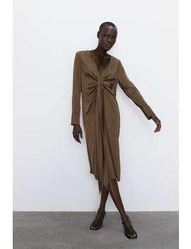 Satin Effect Dress With Tie Detail by Zara
