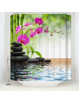 Funcee 3 D Zen Bamboo Fabric Waterproof Shower Curtain Set Bathroom With Hook 180*180cm by Funcee