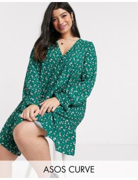 Asos Design Curve V Neck Mini Smock Dress With Pep Hem In Ditsy Floral Print by Asos Design