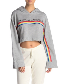 Rainbow Stripe Hooded Cropped Sweater by Spiritual Gangster