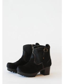 "No.6 5"" Leather Buckle Clog Boot On Mid Heel   Black Pony by Garmentory"