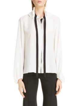 Ruffle Tie Neck Silk Blouse by ChloÉ