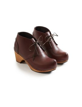 Lisa B. Toe Seam Leather Bootie Clogs   Acorn by Garmentory