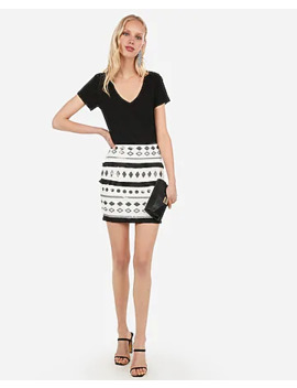 High Waisted Fringe Sequin Mini Skirt by Express