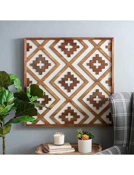 Wood And Linen Lattice Plaque by Kirkland's
