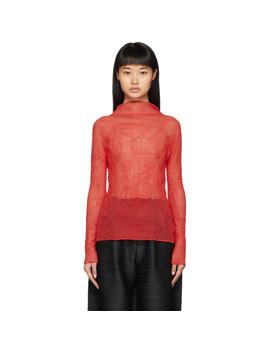 Red Chiffon Twist Top by Issey Miyake