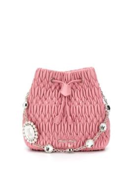 Matelassé Crystal Bucket Bag by Miu Miu