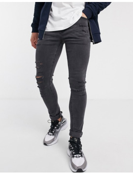 New Look Distressed Skinny Jeans In Dark Gray by New Look
