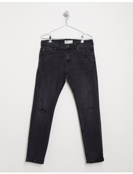 Bershka Skinny Jeans With Knee Rips And Abrasions In Black by Bershka's