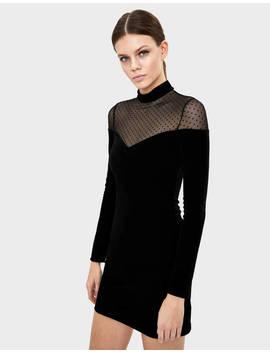 Short Velvet Dress With Dotted Mesh by Bershka