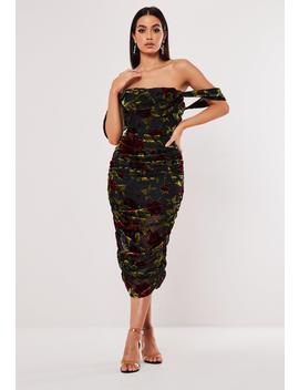 Black Floral Devore Drape Midaxi Dress by Missguided