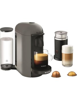 Vertuo Plus Coffee Maker And Espresso Machine With Aeroccino Milk Frother By Breville   Gray by Nespresso