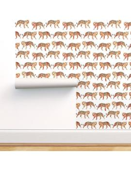Watercolor Tigers Wallpaper   Tiger Zoo Animals By Andrea Lauren   Wild Custom Printed Removable Self Adhesive Wallpaper Roll By Spoonflower by Etsy