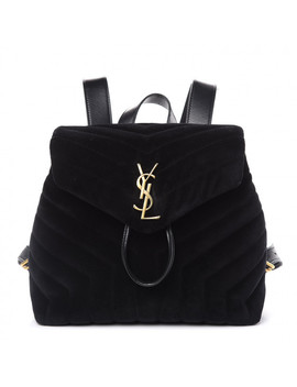 Saint Laurent Velvet Matelasse Small Loulou Monogram Backpack Black by Yves Saint Laurent