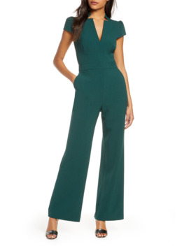 Notch Collar Cap Sleeve Crepe Jumpsuit by Vince Camuto