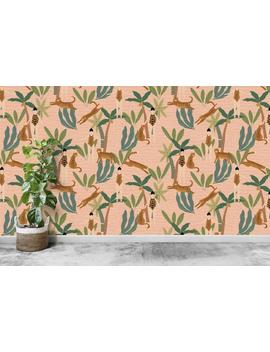 Leopards In Tropics Pattern Wallpaper   Removable Self Adhesive Vinyl Peel & Stick Mural, Animals Tropical Wall Covering By Green Planet by Etsy