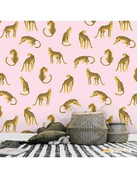 Leopards On Pink Background Wallpaper   Removable Self Adhesive Vinyl Peel & Stick Mural, Animals Tropical Wall Covering By Green Planet by Etsy