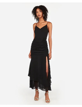 Ruched V Neck Maxi Dress by Express