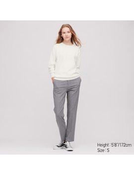 Women Cotton Cashmere Crew Neck Sweater by Uniqlo