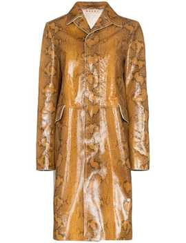 Snakeskin Print Single Breasted Coat by Marni