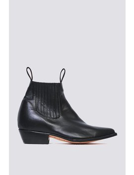 Chamula Negro Leather Botin Vaquero Boot   Black by Garmentory