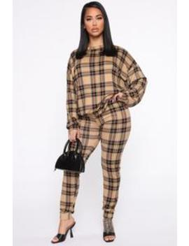Couching Around Plaid Pant Set   Taupe by Fashion Nova