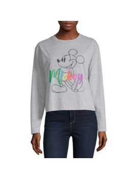 Juniors Womens Crew Neck Long Sleeve Mickey Mouse Graphic T Shirt by Freeze