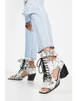 Snake Cut Work Peeptoe Shoe Boots by Boohoo
