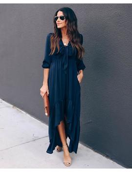 Rewarding Satin Pocketed High Low Maxi Dress   Navy by Vici