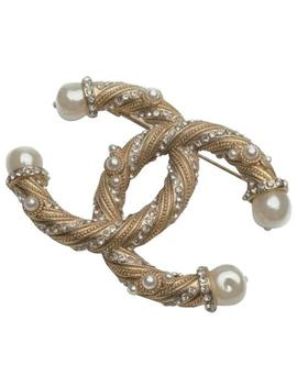 Gold White Twisted Pearl Brooch by Chanel